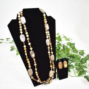Premier Designs marbled brown necklace earring set